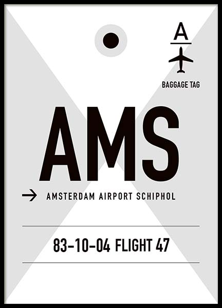 AMS Amsterdam Poster in the group Prints / Maps & cities at Desenio AB (10000)