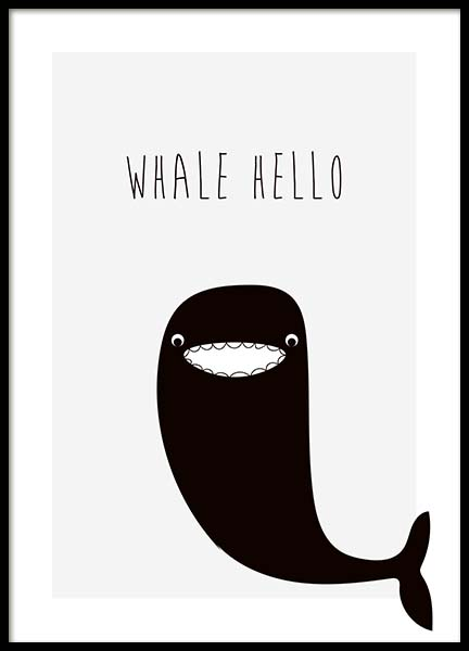 Whale Hello Poster in the group Prints / Kids posters at Desenio AB (10196)