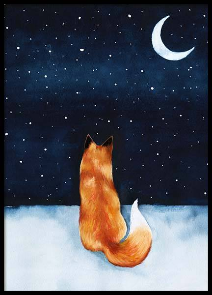 Night Fox Poster in the group Prints / Kids posters at Desenio AB (10274)