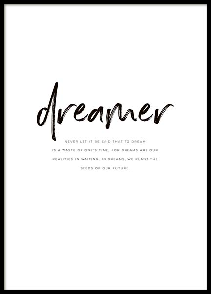 Dreamer Quote Poster in the group Prints / Text posters at Desenio AB (10364)