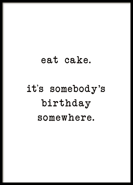 Eat Cake Poster in the group Prints / Text posters at Desenio AB (10622)