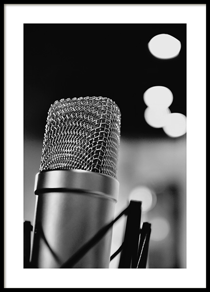 The Microphone Poster in the group Prints / Black & white at Desenio AB (10719)