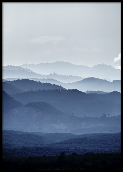 Misty Mountains Blue Poster in the group Prints / Nature at Desenio AB (11051)