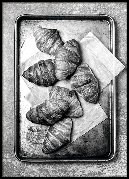 Croissants On Tray Poster in the group Prints / Black & white at Desenio AB (11273)