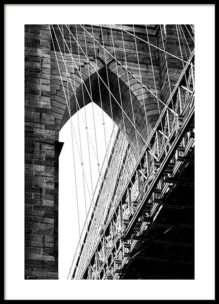Brooklyn Bridge Detail Poster in the group Prints / Black & white at Desenio AB (11309)