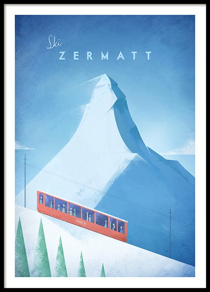 Ski Zermatt Poster in the group Prints / Handpicked / Henry Rivers at Desenio AB (11985)