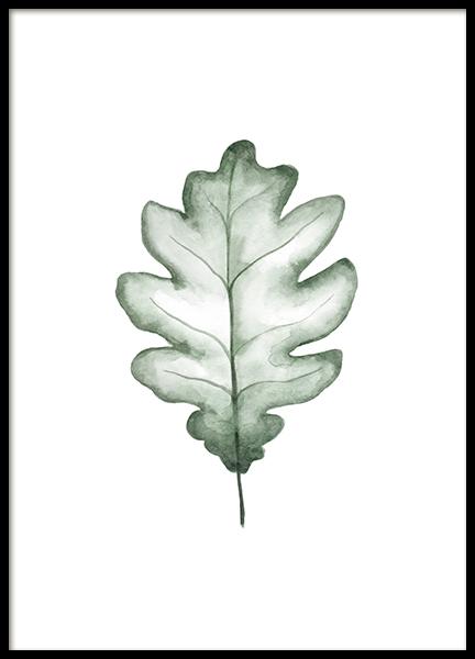 Watercolor Oak Leaf Poster