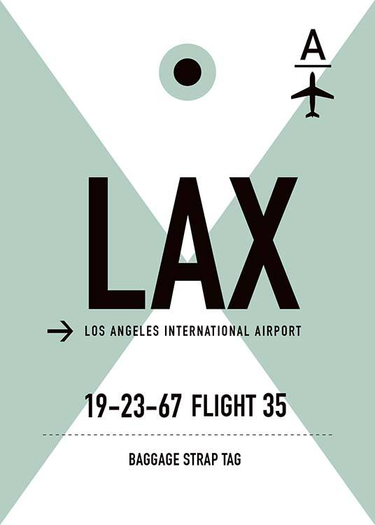 - Los Angeles poster in a mint-green, black and white motif for frequent flyers.