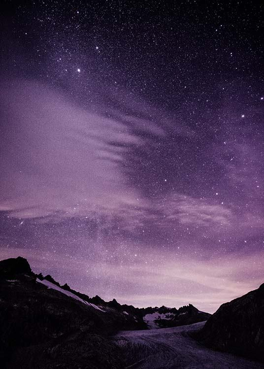- Nature photo of a purple starry sky and snow-capped mountains.