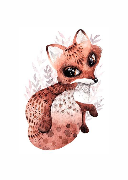 - Animal poster with cute little fox on a white background.