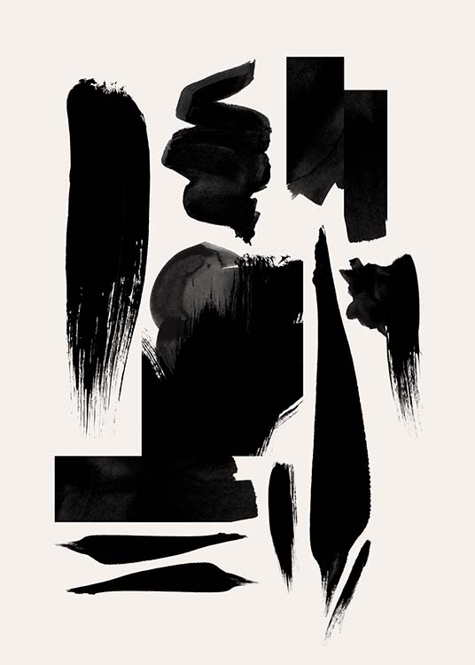 - Abstract poster with different brushstrokes in black on a light background.
