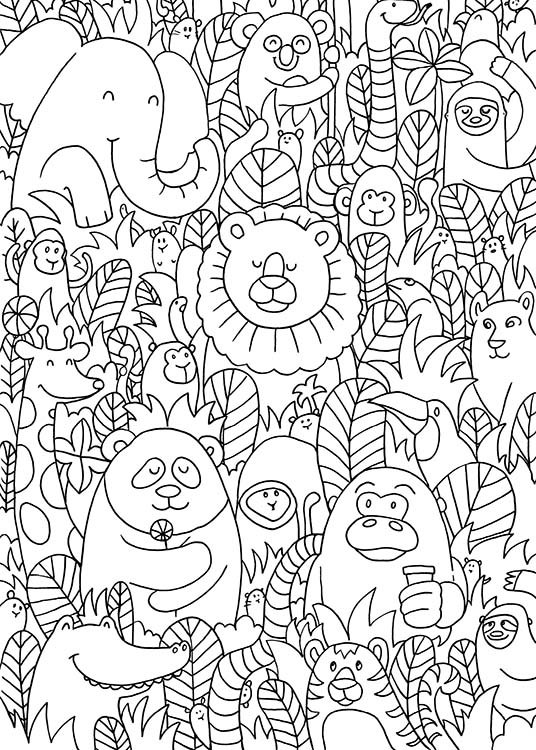 - Poster with jungle animals for the children's room in black and white.