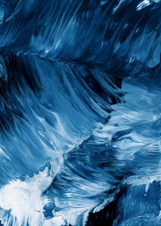 - Abstract art poster with deep-blue waves drawn using acrylic colours.