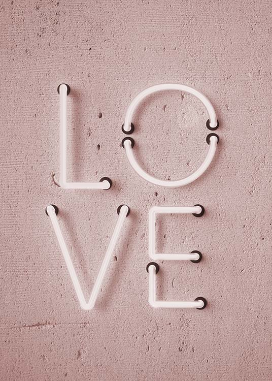 "- Trendy pink neon poster with the word ""Love"" for your home."