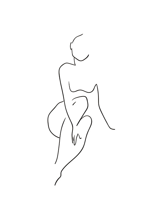 - Simple black and white nude drawing of a female figure.