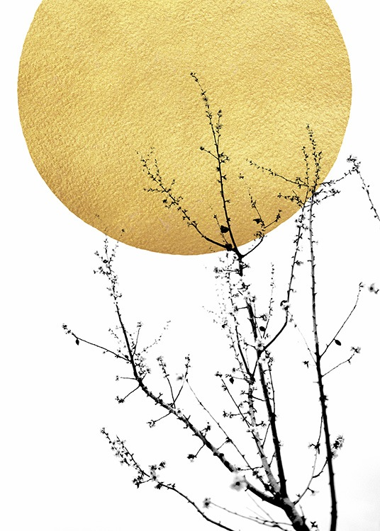 – Abstract poster with a golden sun and a shrub in black