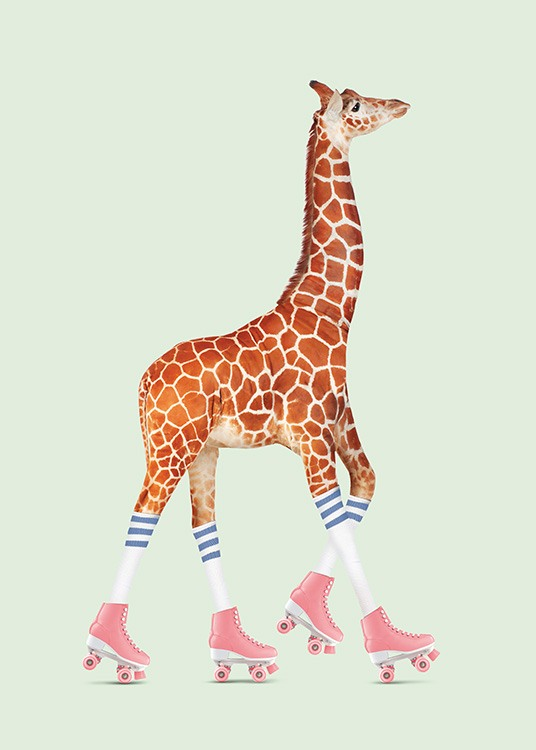 - Funny poster of a giraffe on roller skates on a light-green background.