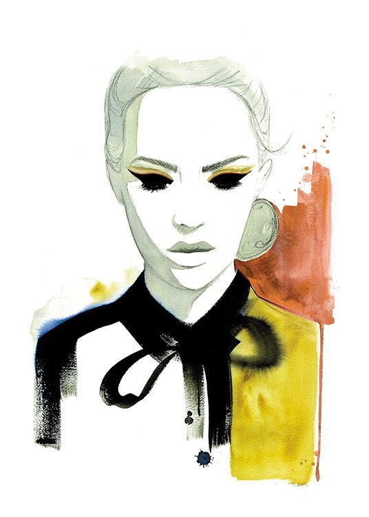 - Artistic fashion illustration of a woman painted in watercolours.