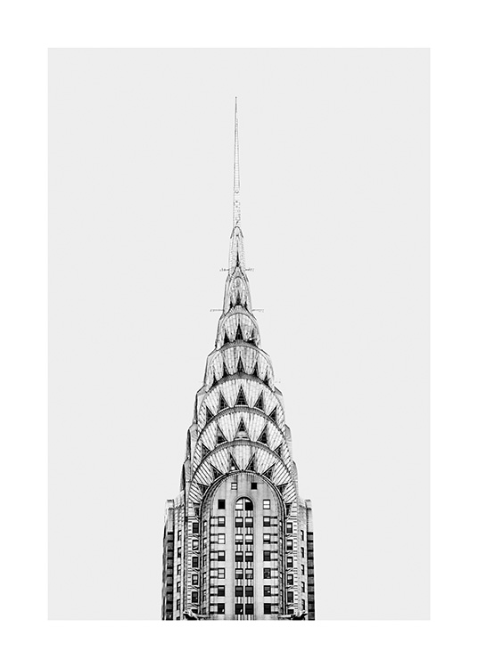 - Stylish New York poster showing the top of the Chrysler Building