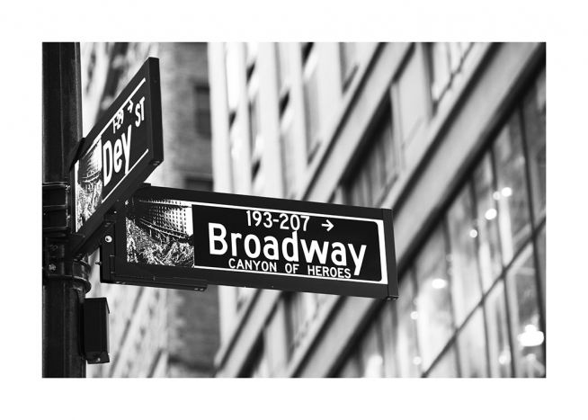 - New York poster with a Broadway street sign in black and white.