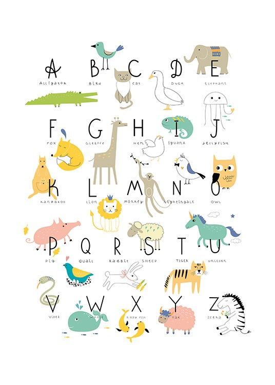 - Cute children's poster with the animal alphabet as a mnemonic aid.