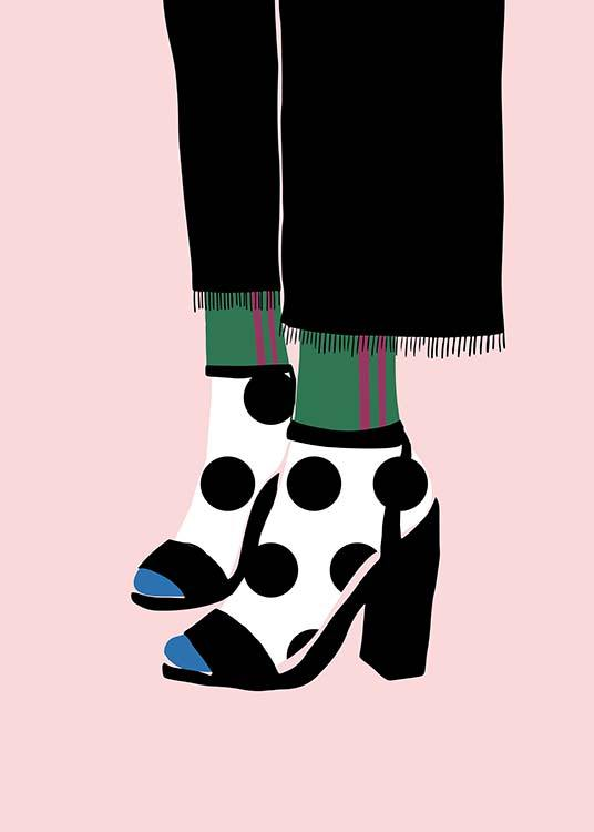 Polka Dot Socks in Heels Poster / Graphical at Desenio AB (11595)