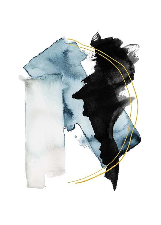– Watercolour illustration with abstract shapes in black and blue with two gold lines