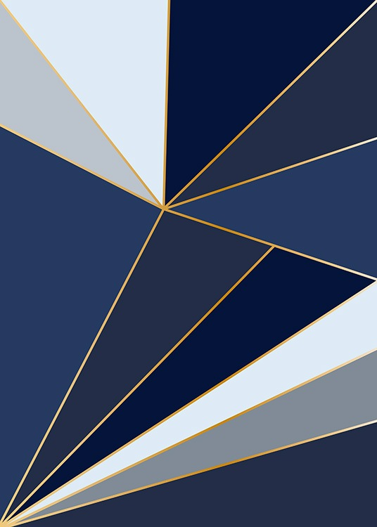 – Graphic illustrations with blue shards and gold lines separating them