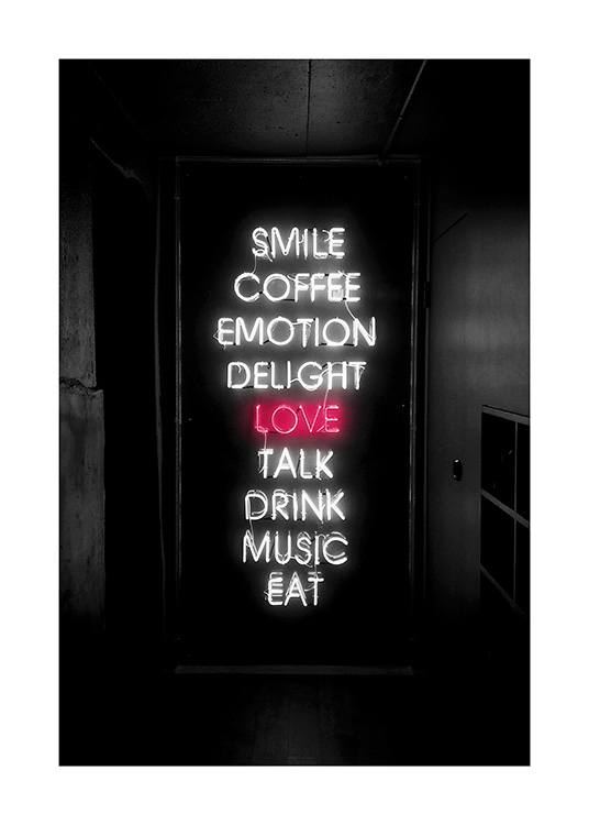 Smile Love Eat Neon Poster / Text posters at Desenio AB (12441)