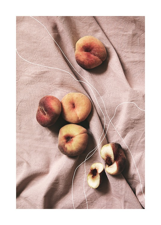 Photo poster of peaches with illustrated white lines with pink canvas in the background