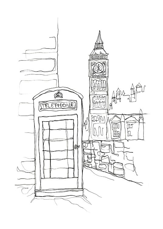 Illustrated picture of Big Ben and a telephone box in London