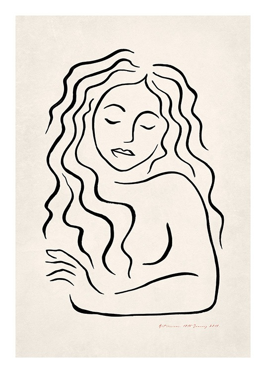 - Illustrated design of handpainted woman with long curly hair, drawn in black on a beige background
