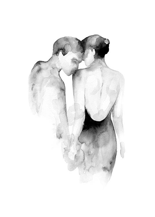 – Black and white watercolour illustration of a woman being kissed on the shoulder by a man