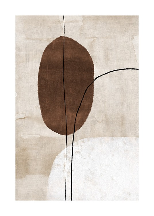 – Painting with abstract shapes and lines in black and brown on a beige background