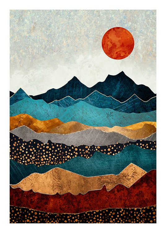- Graphical illustration with a colourful mountain landscape and a red sun in the background