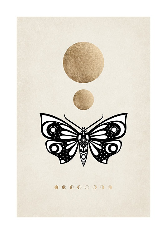 – Graphic illustration with gold circles, a black and white moth and phases of the moon