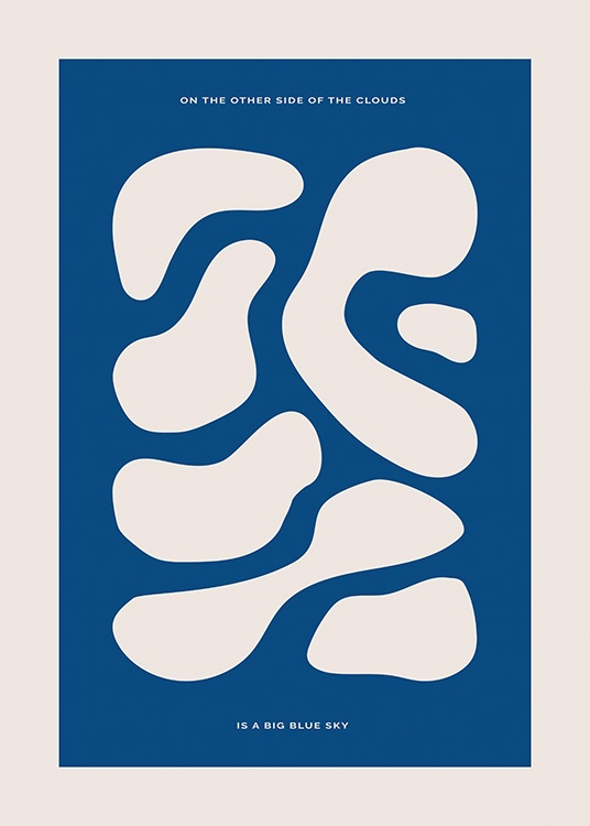 – Graphic illustration with shapes in beige on a dark blue background, with text above and underneath the shapes