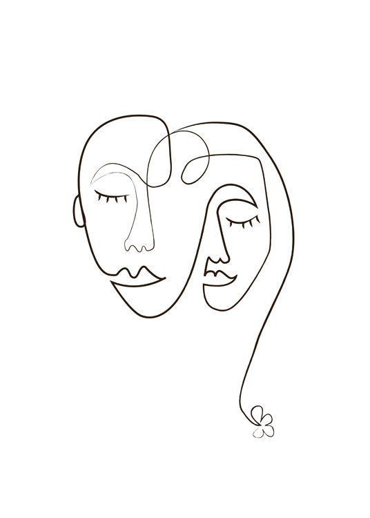– Illustration with two faces drawn in black line art on a white background