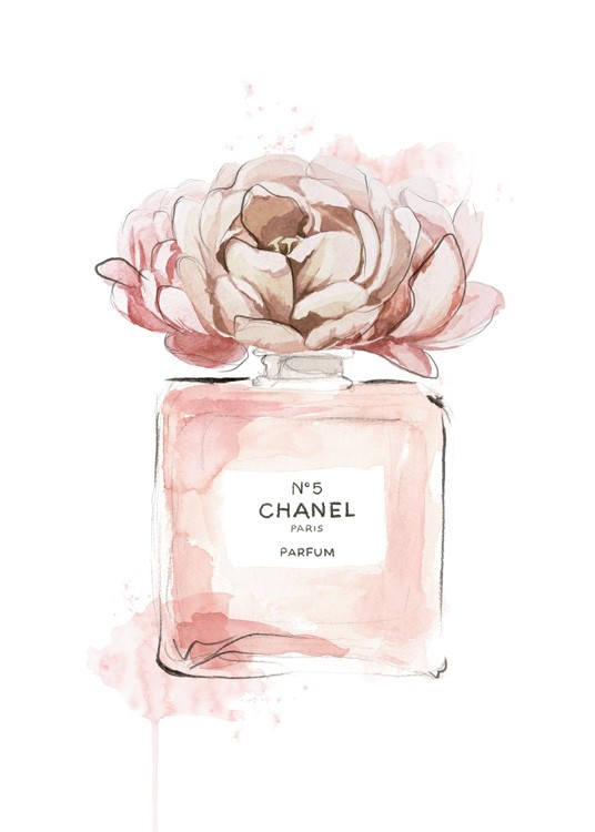 – Painting in watercolour of a perfume bottle in pink with a pink flower on top of it