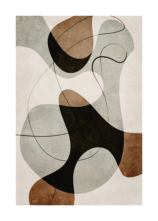 – Graphic illustration with abstract shapes and lines in brown and grey on a beige background