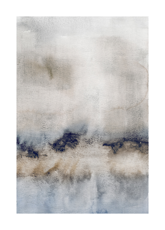 – Painting in watercolour with an abstract design in blue, beige and grey