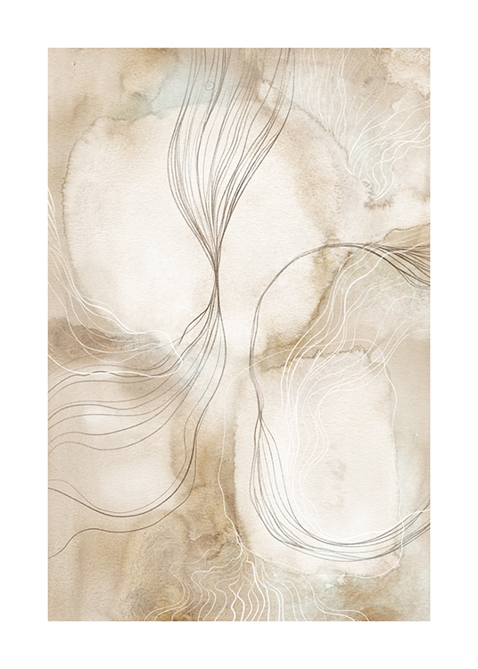 – Illustration with abstract lines in grey and white on a beige background in watercolour