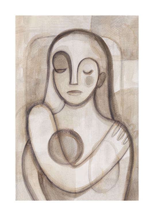 – Sketch of an abstract woman with closed eyes in brown and beige watercolour