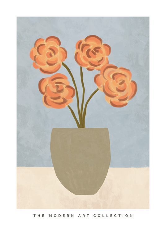 – Painting with a grey pot with light red flowers on a beige and blue background with text underneath