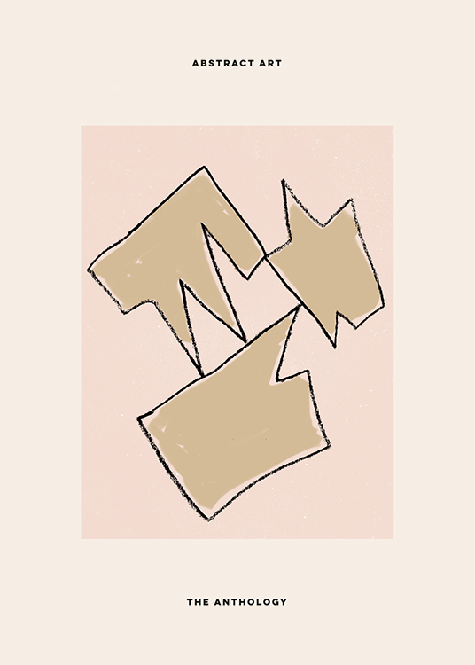– Illustration with abstract shapes in beige on a pink and light beige background