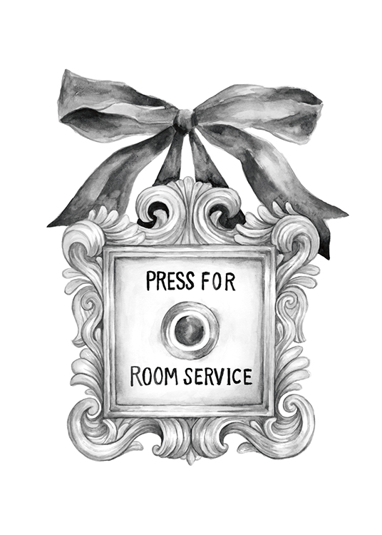 – Illustration with a grey, vintage doorbell and ribbon with text in the middle