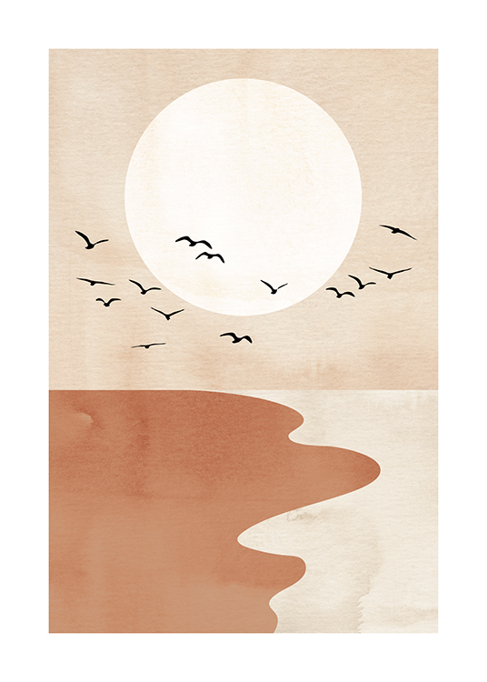 – Graphic illustration with a red and beige beach, black birds and a light beige circle