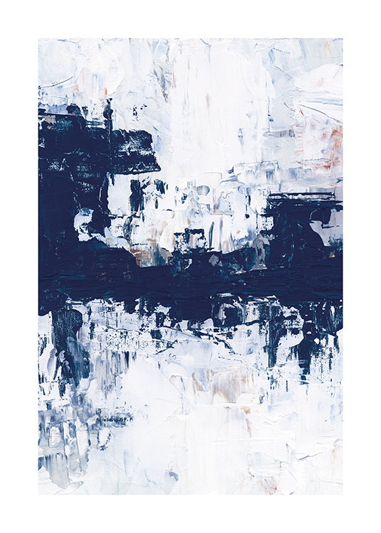 – Blue and white acrylic painting with an abstract design